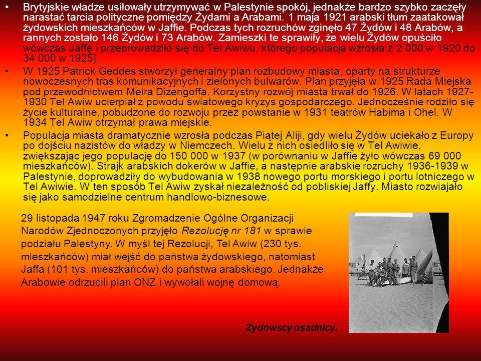 Brytyjskie władze usiłowały utrzymywać w Palestynie spokój, jednakże bardzo szybko zaczęły narastać tarcia polityczne pomiędzy Żydami a Arabami. 1 maja 1921 arabski tłum zaatakował żydowskich mieszkańców w Jaffie. Podczas tych rozruchów zginęło 47 Żydów i 48 Arabów, a rannych zostało 146 Żydów i 73 Arabów. Zamieszki te sprawiły, że wielu Żydów opuściło wówczas Jaffę i przeprowadziło się do Tel Awiwu, którego populacja wzrosła z 2 000 w 1920 do 34 000 w 1925].